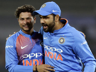 File image of India's Kuldeep Yadav and Rohit Sharma. AP