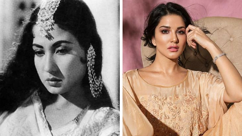 Meena Kumari (left); Sunny Leone (right). Images via Facebook