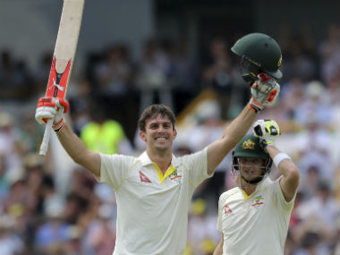 Mitchell Marsh brought up his maiden Test hundred in front of his home crowd at the WACA on Day 3. AP