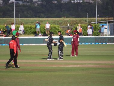 Ross Taylor and Todd Astle after taking New Zealand home with four overs remaining. Image courtesy: Twitter @BLACKCAPS