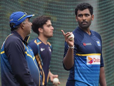 Mohali: Sri Lanka's captain Thisara Perera with team Manager Asanka Gurusinha during a practice session on the eve of the second ODI cricket match against India, in Mohali on Tuesday. PTI Photo by Manvender Vashist (PTI12_12_2017_000122B)
