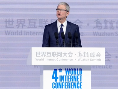 Apple CEO Tim Cook attends the opening ceremony of the fourth World Internet Conference in Wuzhen, China. Reuters