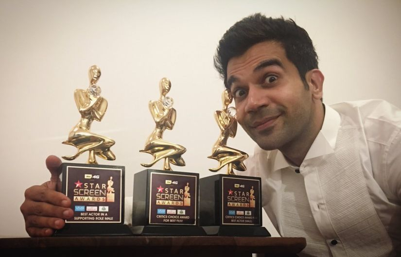 Rajkummar Rao won the award for Best Actor and Best Film (Newton), and Best Supporting Actor (Bareilly Ki Barfi) at Star Screen Awards 2017. Twitter/@RajkummarRao