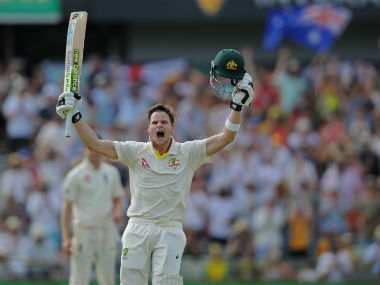 Australia captain Steve Smith celebrates after reaching his 200 on Day 3 of the third Ashes Test. AFP