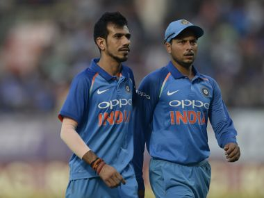 Yuzvendra Chahal (L) and Kuldeep Yadav took three wickets apiece to bring India back in the game in Visakhapatnam on Sunday. AFP