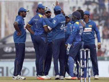 Sri Lankan players celebrate the dismissal of India's Shikhar Dhawan. AP