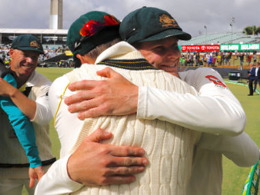 Steve Smith hugs teammates after Australia's series clinching win in the third Test at the WACA. Reuters