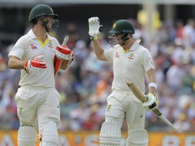 Australia's Mitchell Marsh, left, is congratulated by his captain Steve Smith after scoring a century during the 3rd Ashes Test. AP