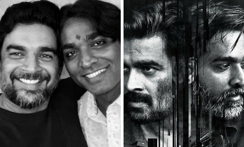 Madhavan and Vijay Sethupathi at the success meet; poster for Vikram Vedha. Image from Twitter/@Ganeshkewl888 and @avardhaar