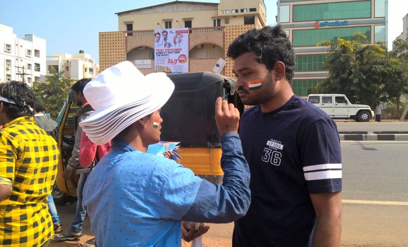 Fans getting ready to support for India in Visakhapatnam on Sunday. Firstpost/ Shantanu Srivastava