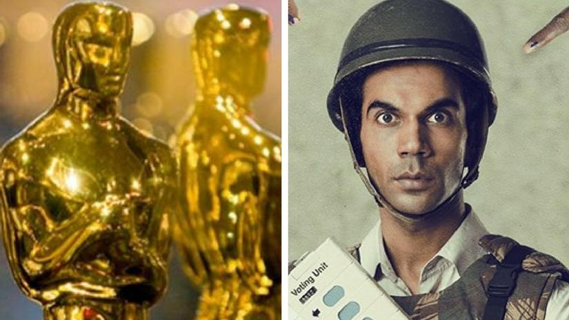 The Oscar statuette (left); Rajkummar Rao in Newton (right). Images via Facebook