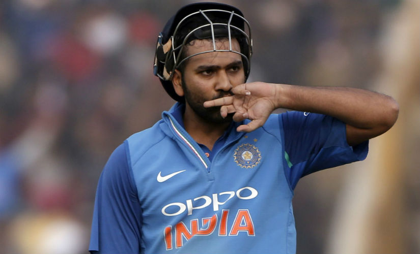 Indian captain Rohit Sharma after scoring a double century during the second ODI of the series against Sri Lanka in Mohali. AP
