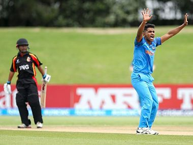 Anukul Roy took five wickets for India against Papua New Guinea. Image courtesy: Twitter @BCCI