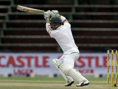 South Africa's Dean Elgar bats on the fourth day of the third Test. AP