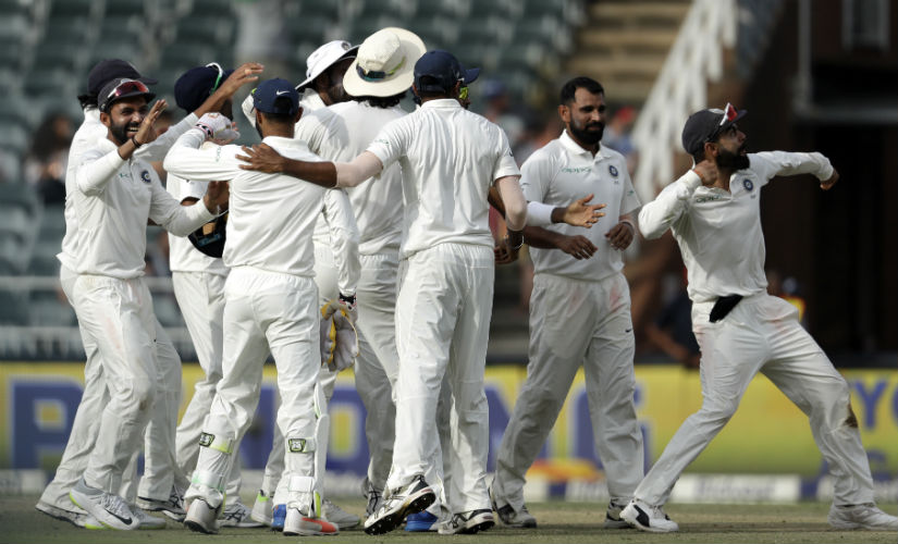 The Indians celebrate after pulling off a 63-run win over South Africa on Day 4 of the third Test. AP