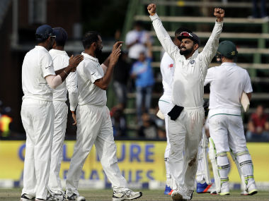 Virat Kohli and team celebrate after beating South Africa in the third Test. AP