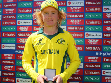Australia's Lloyd Pope after his match-winning spell. Image Courtesy: Twitter @ICC