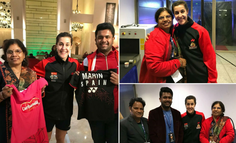 PBL 2018 When Hyderabad Hunters Carolina Marin met her biggest fan from India