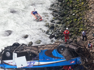 36 killed after bus collides with truck in Peru falls off cliff vehicle was travelling across precarious Devils Curve