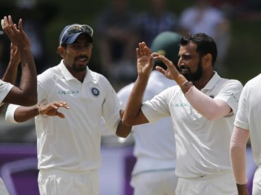 Mohammed Shami (C) celebrates the dismissal of Kagiso Rabada during the fourth day of the first Test at Newlands  in Cape Town. AFP