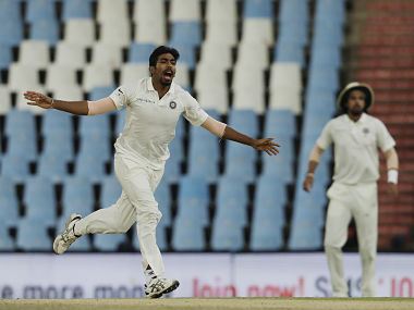 India's bowler Jasprit Bumrah, reacts after his delivery against South Africa's batsman AB de Villiers, during the third day of the second cricket test match between South Africa and India at Centurion Park in Pretoria, South Africa, Monday, Jan. 15, 2018. (AP Photo/Themba Hadebe)