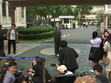 Thailand PM Prayuth Chanocha walks out of press conference asks cardboard cutout to hold fort