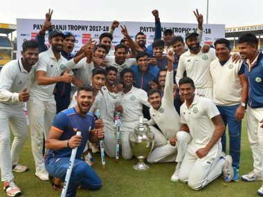 Vidarbha players celebrate after winning the Ranji Trophy final against Delhi in Indore on 1 January, 2018. PTI