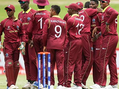 File image of defending champions West Indies players. Image Courtesy: ICC