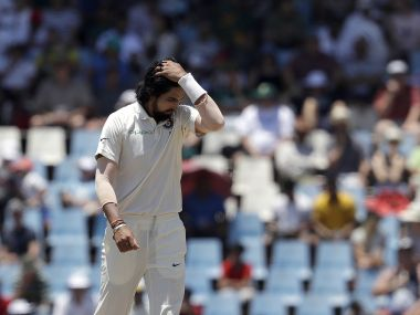 India's Ishant Sharma reacts on the first day of the second Test at Centurion Park. AP