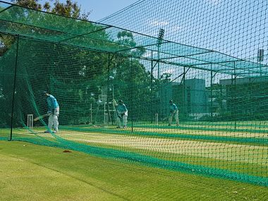 Indian batsmen bat in the nets ahead of the third Test. Image courtesy: Twitter @BCCI