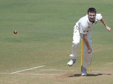 Australia's Jackson Bird bowls during the second day of three-day practice cricket match between India 'A' and Australia at The Brabourne Cricket Stadium in Mumbai on February 18, 2017.  Australia will play a four-match Test series against India with the first Test scheduled to start in Pune from February 23. ----IMAGE RESTRICTED TO EDITORIAL USE - STRICTLY NO COMMERCIAL USE----- / AFP PHOTO / PUNIT PARANJPE / ----IMAGE RESTRICTED TO EDITORIAL USE - STRICTLY NO COMMERCIAL USE----- / GETTYOUT