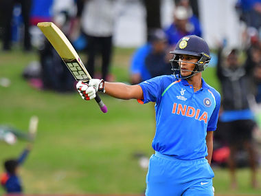 India's Manjot Kalra celebrates reaching his half-century during the U19 cricket World Cup final match between India and Australia at Bay Oval in Mount Maunganui on February 3, 2018. / AFP PHOTO / Marty MELVILLE