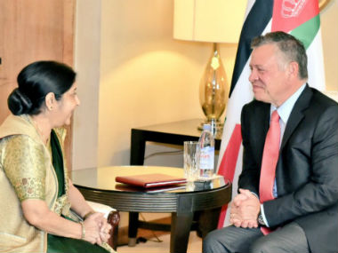 Sushma Swaraj calls on Jordans king Abdullah II discusses cooperation in defence security and tourism sectors
