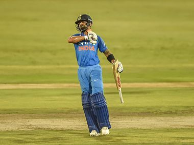 Indian batsman Captain Virat Kohli celebrates after getting his 100 runs during theSixth ODI cricket match between South Africa and India in Pretoria, South Africa, Friday, Feb. 16, 2018. AP/PTI(AP2_16_2018_000263B)