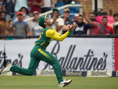 South Africa's Farhaan Behardien drops a catch against India. REUTERS