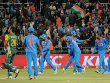 India's players celebrate after winning the third T20I against South Africa. AFP