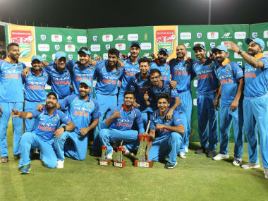 The victorious Indian team with the trophy after winning the series 5-1. Image credit: Twitter/@ICC