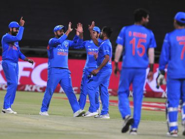 Indian cricket team celebrate after beating South Africa in the third T20I. AP
