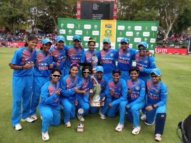 India women with the trophy. Image courtesy: Twitter @BCCIWomen