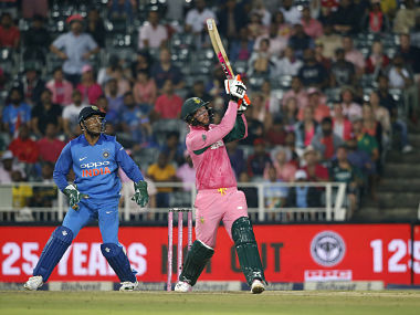 South African batsman Heinrich Klaasen hits a six during the fourth ODI against India in Johannesburg. AFP