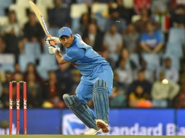 MS Dhoni bats in the second T20I against South Africa.