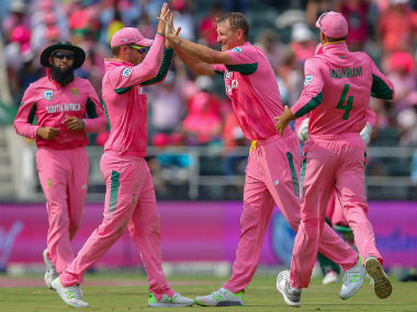 South Africa players celebrating an Indian wicket. Image Courtesy Twitter @OfficialCSA