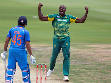 Cricket - India v South Africa - Second One Day International - Centurion Stadium, Pretoria, South Africa - February 4, 2018. South Africa's Kagiso Rabada celebrates what he thought was the wicket of India's Rohit Sharma. Sharma was declared not out. REUTERS/James Oatway - RC1B6F366BA0