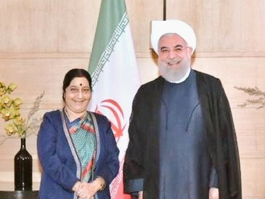 Sushma Swaraj meets Iranian president Hassan Rouhani in Delhi discusses energy and connectivity issues