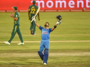 Virat Kohli celebrates after getting to 100 runs during the sixth ODI between South Africa and India. PTI