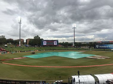 Only 15.3 overs of play was possible before rain intervened. Image courtesy: Twitter @OfficialCSA