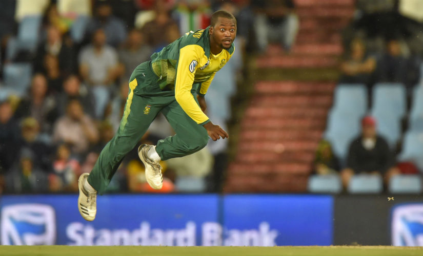 South Africa's Andile Phehlukwayo bowls during the second T20I against India in Centurion. AFP