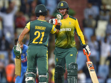 South Africa's Heinrich Klaasen and JP Duminy during their partnership in the 2nd T20I of the series against India in Centurion. AFP