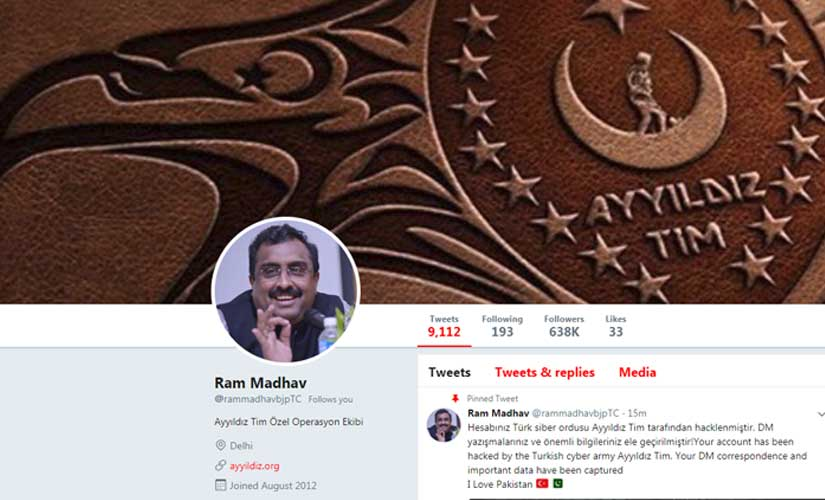 BJP national general secretary Ram Madhavs Twitter account hacked by ProPakistan Turkish hackers