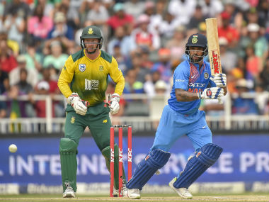 India's Shikhar Dhawan bats against South Africa during the first T20I of the series at the Wanderers in Johannesburg. AFP